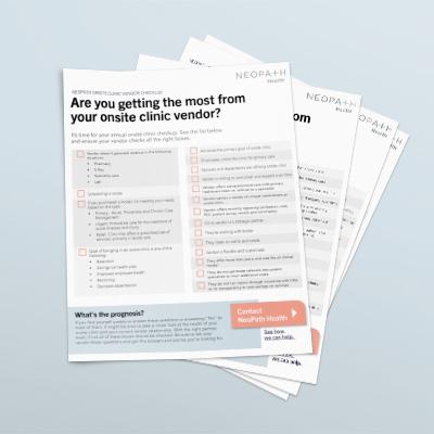 NeoPath Onsite Clinic Vendor Checklist